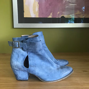 Free People Belleville Blue Leather Booties